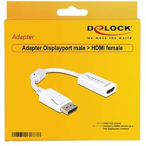Cable DP 1.1 plug > HDMI jack, 22 cm, weiß DELOCK 61767