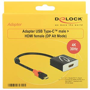USB Type-C>HDMI 4K/30Hz Buchse DP-Alt Mode DELOCK 62729