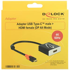 USB Type-C>HDMI 4K/60Hz Buchse DP-Alt Mode DELOCK 62730