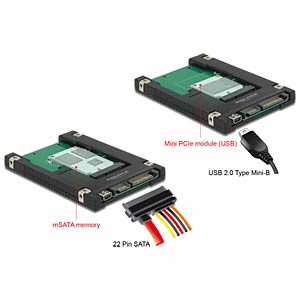 Konverter SATA / USB 2.0 > mSATA / miniPCIe DELOCK 62853
