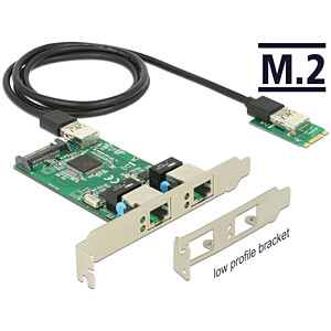Netzwerkkarte, M.2, Gigabit Ethernet, 2xRJ45 DELOCK 63425