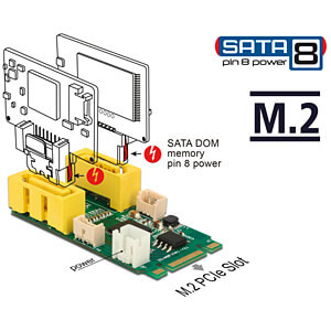 Konverter M.2 Key B+M Stecker > 2x SATA Pin 8 Power DELOCK 63464