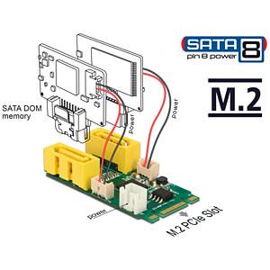 Converter M.2 Key B+M male > 2 x SATA pin 8 power plug DELOCK 63464