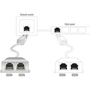 RJ45 Port Doppler 1xSt. - > 2xBu.  2x ISDN DELOCK 65224