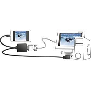 MHL Adapter, MHL Stecker/ USB A Stecker auf DVI 24+1 Buchse DELOCK 65337