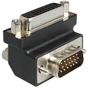 DVI Adapter, DVI 24+5 Buchse auf VGA Stecker 90° DELOCK 65425