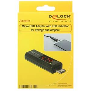 USB Micro B Stecker > Buchse, Anzeige, 180° DELOCK 65682
