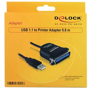 Kabel USB > Drucker 0.8m DELOCK 82001