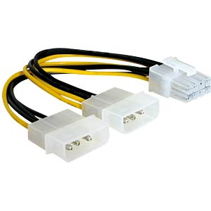 Molex 2x 4 Pin Stecker > 8 Pin PCI Express, 15 cm DELOCK 82397