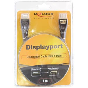 DisplayPort Kabel, DisplayPort 1.2 Stecker, 1 m, schwarz DELOCK 82770