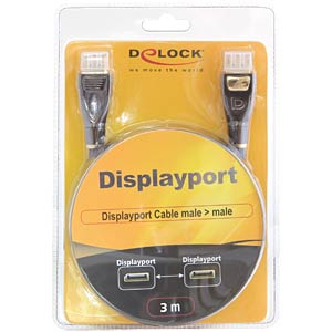 DisplayPort Kabel, DisplayPort 1.2 Stecker, 3 m, schwarz DELOCK 82772