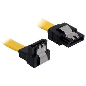 Kabel SATA 6 Gb/s ge/un 10 cm gelb Metall DELOCK 82798