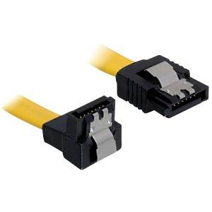 Kabel SATA 6 Gb/s ge/un 20 cm gelb Metall DELOCK 82800
