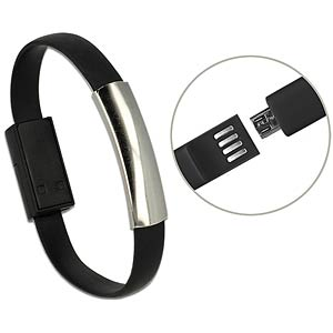 USB A Stecker > Micro B Stecker Armband schw. DELOCK 82910