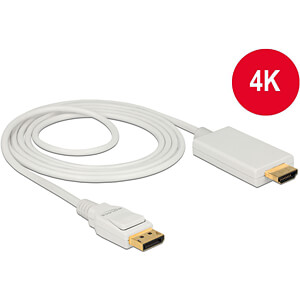 Delock Kabel DP 1.2 Stecker > HDMI-A Stecker, weiß, 2 m DELOCK 83818