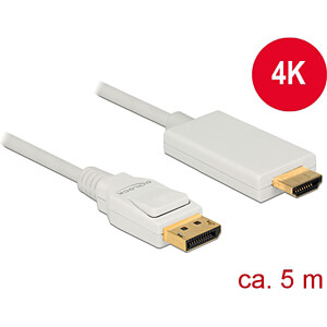 Delock Kabel DP 1.2 Stecker > HDMI-A Stecker, weiß, 5 m DELOCK 83820