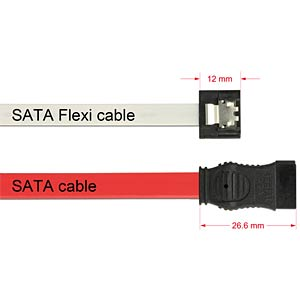 Cable SATA FLEXI 6 Gb/s 10 cm white metal DELOCK 83830