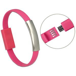 USB Bracelet USB 2.0 Type-A male > USB 2.0 Micro-B male pink 22 DELOCK 83946