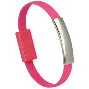 USB A Stecker auf Micro B Stecker Armband pink DELOCK 83946