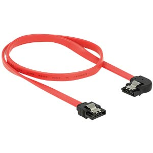 SATA 6 Gb/s male>male lft. ang. 50 cm red DELOCK 83964