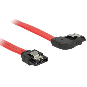 SATA 6 Gb/s male>male rgt. ang. 10 cm red DELOCK 83966