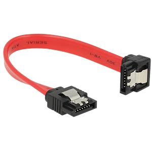SATA 6 Gb/s male>male downw. ang. 10 cm red DELOCK 83976