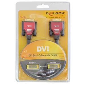 Cable DVI 24+1 plug > plug, red, 3 m DELOCK 84346