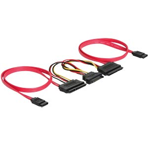 Cable SATA 22pin 2x > 7pin 2x +15pin Power DELOCK 84356