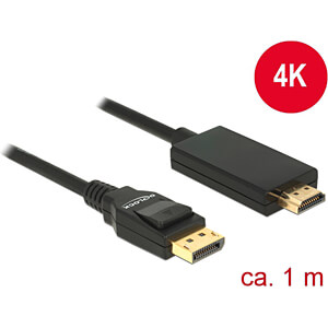 Delock Kabel DP 1.2 Stecker > HDMI-A Stecker, schwarz, 1 m DELOCK 85316