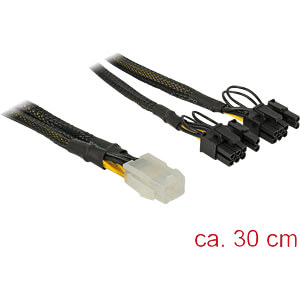 Kabel PCIe 6 Pin Buchse > 2x 8 Pin Stecker, Nylon, 30cm DELOCK 85455