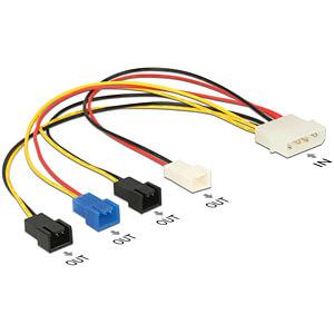 Cable Power supply Molex 4 pin male > 4x 2 pin fan, 20 cm DELOCK 85516