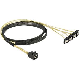 Kabel Mini SAS HD SFF-8643 > 4 x SATA 7 Pin gewinkelt 0,5 m DELOCK 85684