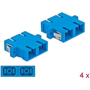 Optical Fiber Coupler SC/SC Duplex 4 pieces blue DELOCK 85991