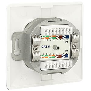Network socket 2xRJ45 LSA flush-fitted cat.6 DELOCK 86125