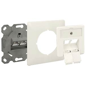 Modular Wall Outlet flush mount 2Port Cat.6A LSA DELOCK 86195
