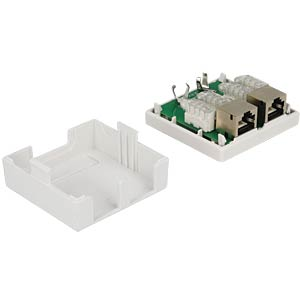 2-way RJ45 junction box, cat.6, surface-mounted DELOCK 86269
