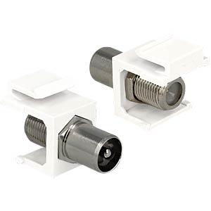 Keystone Modul IEC Stecker > F Buchse weiß DELOCK 86362