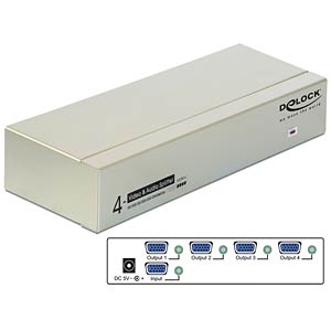 4-Port VGA Audio und Video Splitter 450 MHz DELOCK 87655