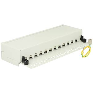 Cat.6A Patchpanel 12 Port,Wandbefestig., grau DELOCK 87675