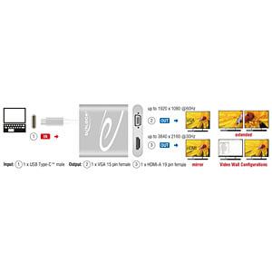 Splitter USB Type-C Stecker > HDMI / VGA Buchse DP-Alt Mode DELOCK 87705