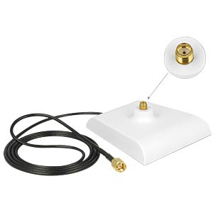 Aerial base SMA plug > SMA socket, 1m - white DELOCK 88974