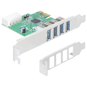 USB-Controller 3.0, 4-Port, PCI-Express Karte, LP DELOCK 89316