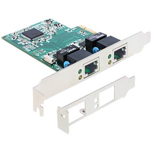 PCIe Gigabit Lan 2x + Low Profile Blende DELOCK 89358