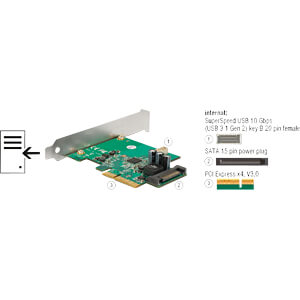 Carte PCIe > 1 connecteur femelle interne 20 broches, USB 3.1 Ge DELOCK 89801