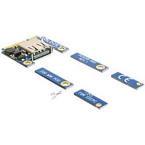 MiniPCIe I/O USB 2.0 full size o. half size 1x USB 2.0 Typ A Buc DELOCK 95235
