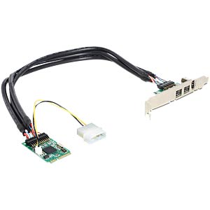 Mini PCIe 3 Port 1394b 1394a Firewire DELOCK 95236