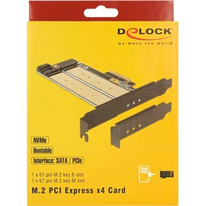 PCI Express card x4 > M.2 Key B + NVMe M.2 Key M DELOCK 89630