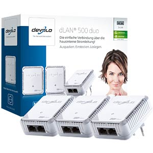 Powerline dLAN duo 500 Mbit/s Network Kit (3 Geräte) DEVOLO 9103