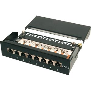 Mini patch panel, Cat. 6, 8-port, black DIGITUS DN-91608SD
