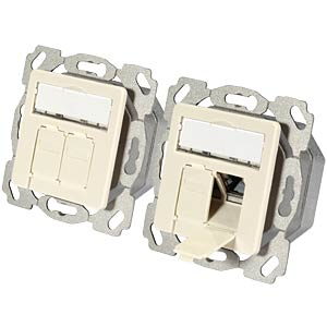 RJ45 connection box, Cat.6A, flush mounting, top/bottom, 9010 EFB-ELEKTRONIK ET-25133AV4EP